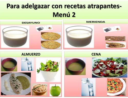 Para adelgazar con recetas atrapantes- Menú 2